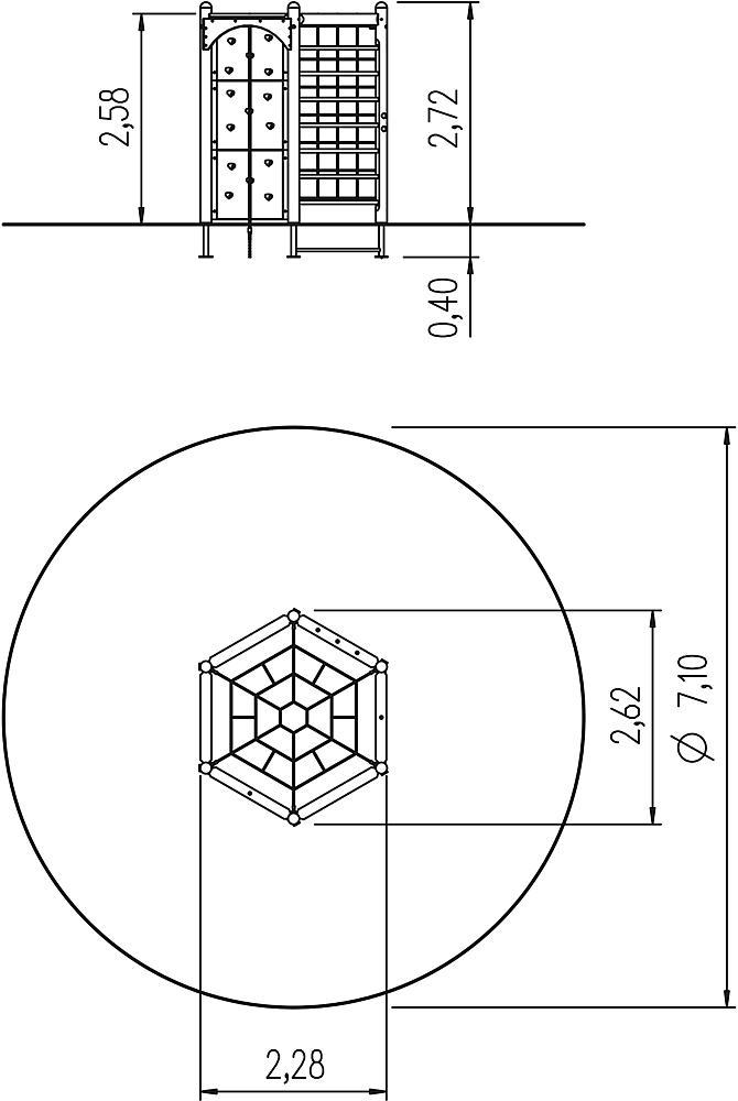 zeshoektoestel 270 met net