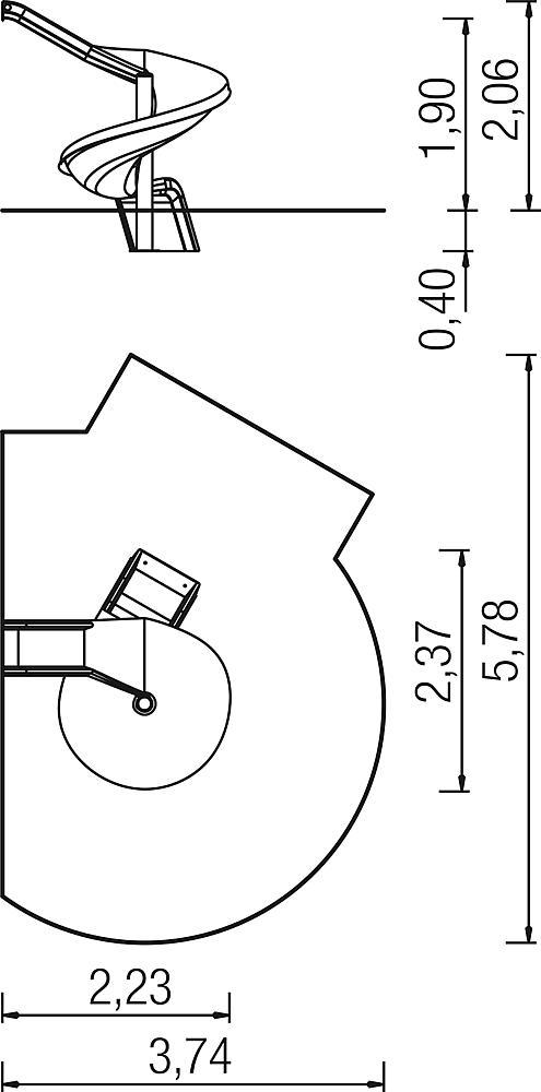 AanbouwglijbAan 270 graden, rechts draaiend, ph 195 cm