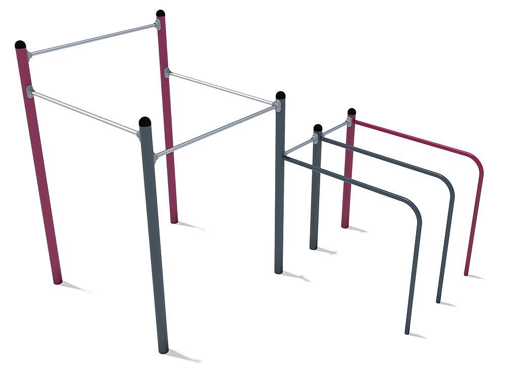 Calisthenics uitrusting Midi 01 staal, roestvrij staal, FL 3 anthraciet, violet