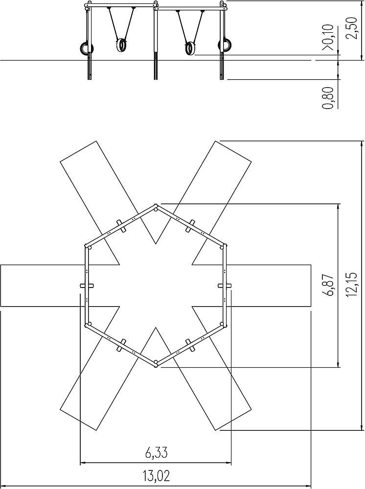 zeshoekschommel met bandenzitjes