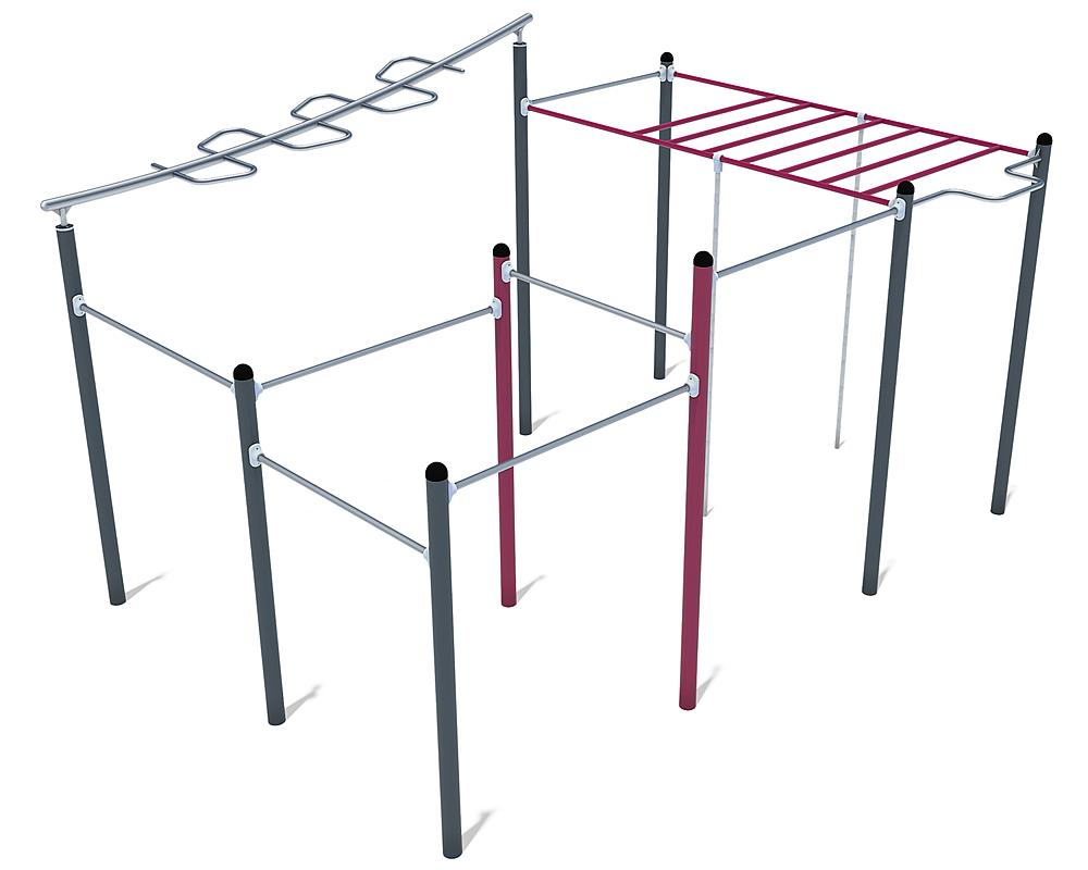 Calisthenics uitrusting Maxi 01 staal, roestvrij staal, FL 3 anthraciet, violet