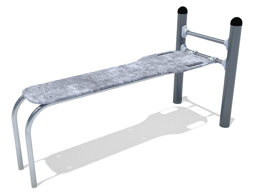 Calisthenics Sit-up Bank staal, roestvrij, HPL, FL 3 anthrazit-beton