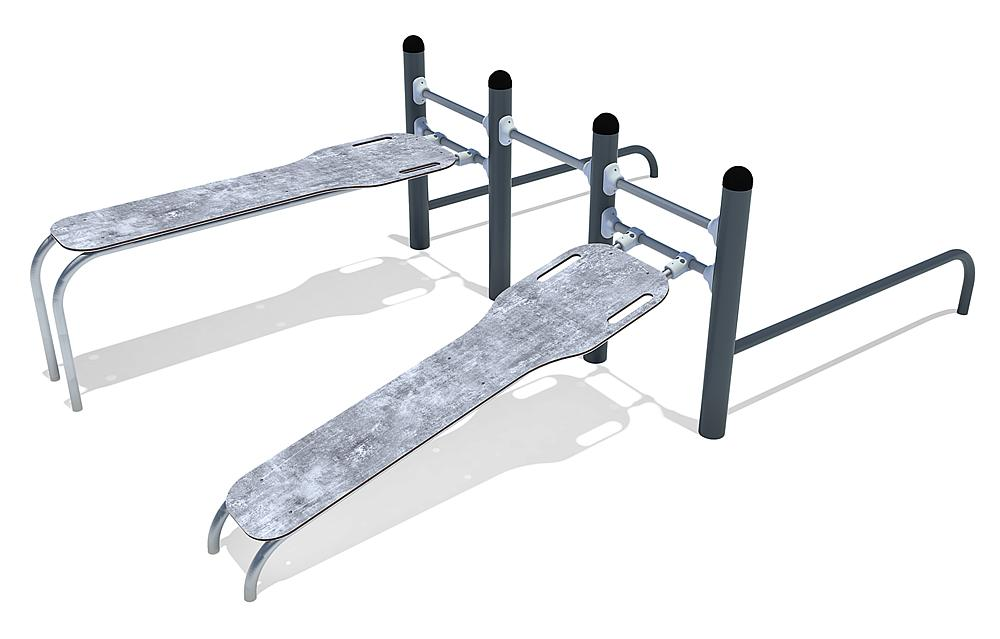 Calisthenics Combi 02 sits-ups and push-ups, FL 3 staal, roestvrij staal, HPL anthraciet-beton