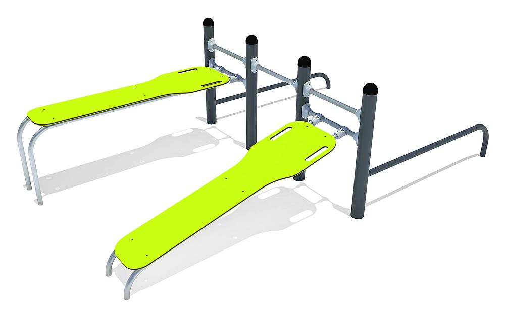 Calisthenics Combi 02 Push-ups, FL 3 staal, roestvrij staal, HPL anthraciet, lime
