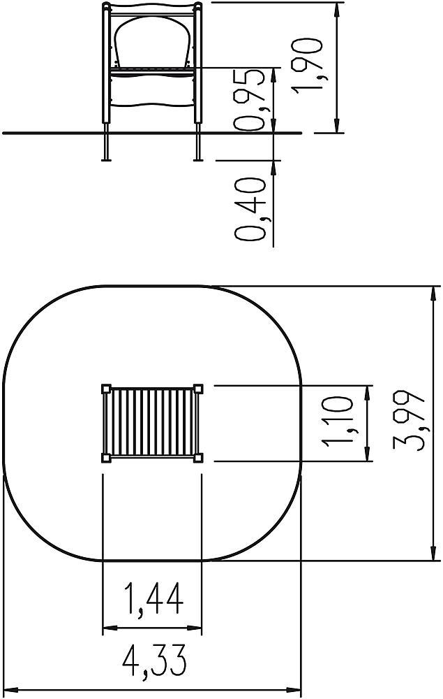 Platform voor aanbouwglijbaan brede ph 95 cm