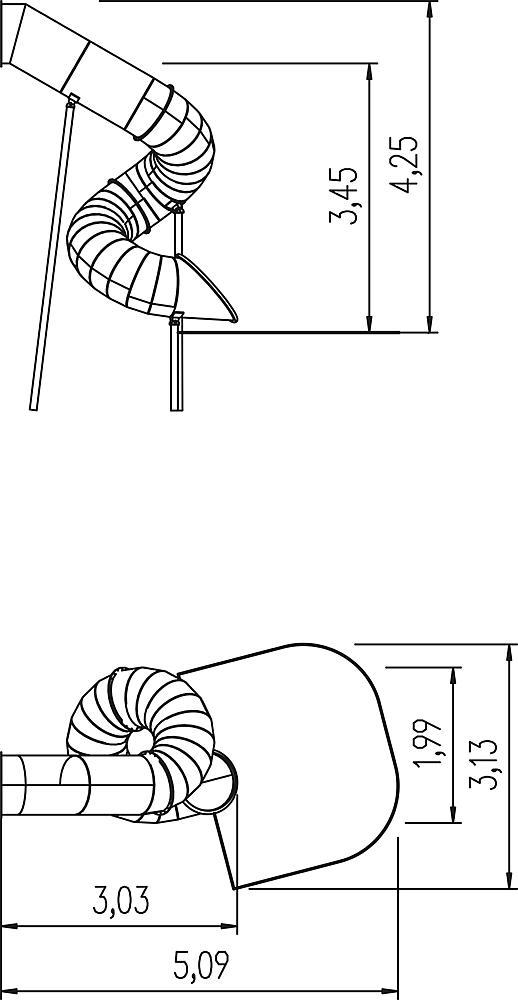 Buisglijbaan 270 graden, links draaiend, ph 345 cm, RVS