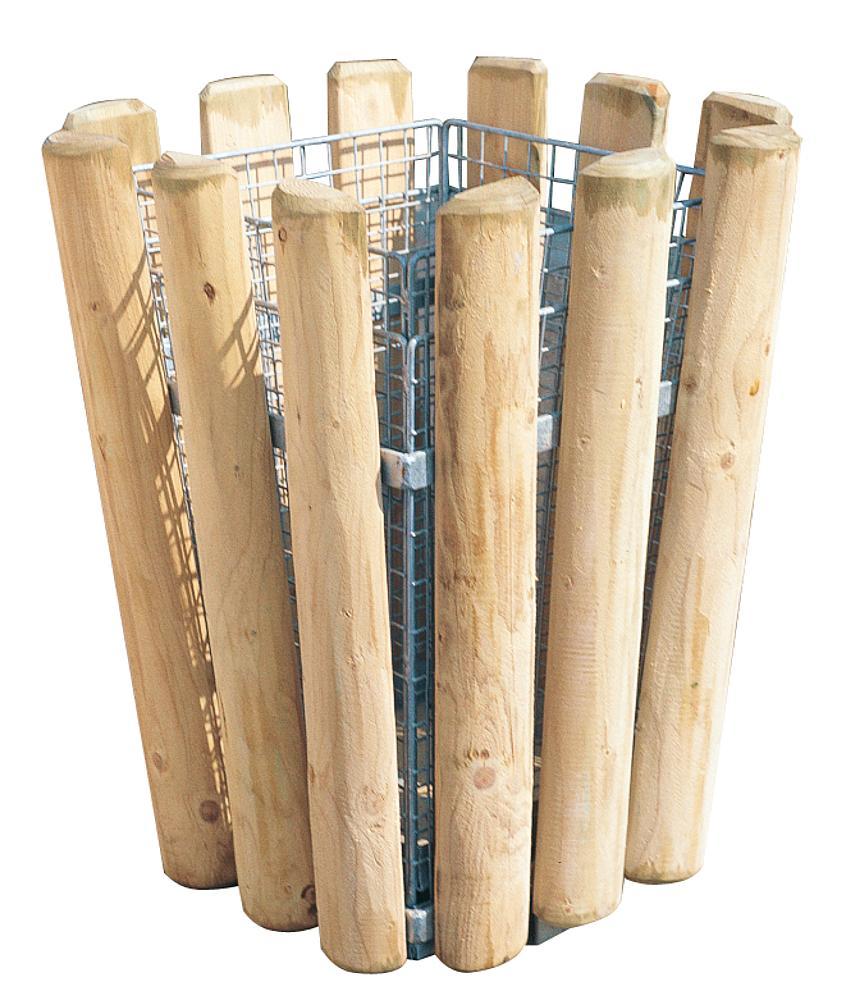 Afvalemmer hout met draadkorfinzet