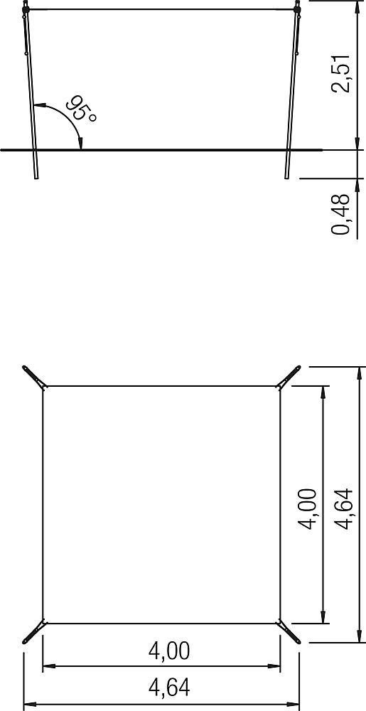 Schaduwzeil in hoogte verstelbaar 4x4m