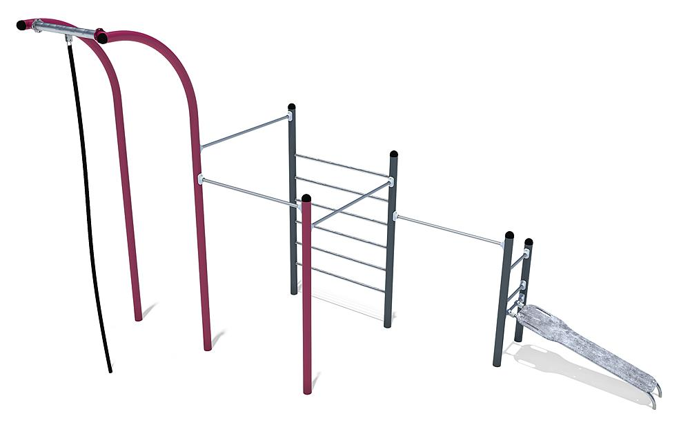 Calisthenics uitrusting Midi 02 staal, roestvrij staal, HPL anthraciet, violet
