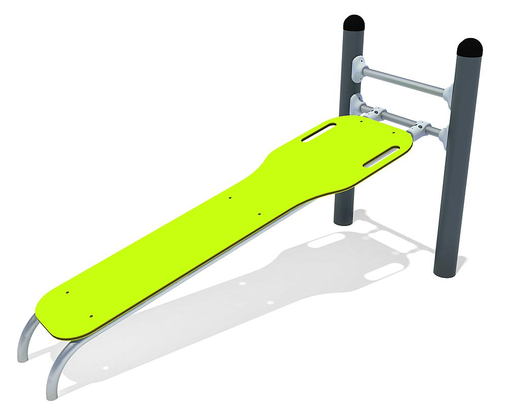 Calisthenics Sit-up bank staal, roestvrij, HPL, FL 3 anthraciet, lime